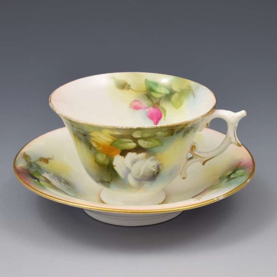 Edwardian Royal Worcester Cup & Saucer Hadley Roses 1909