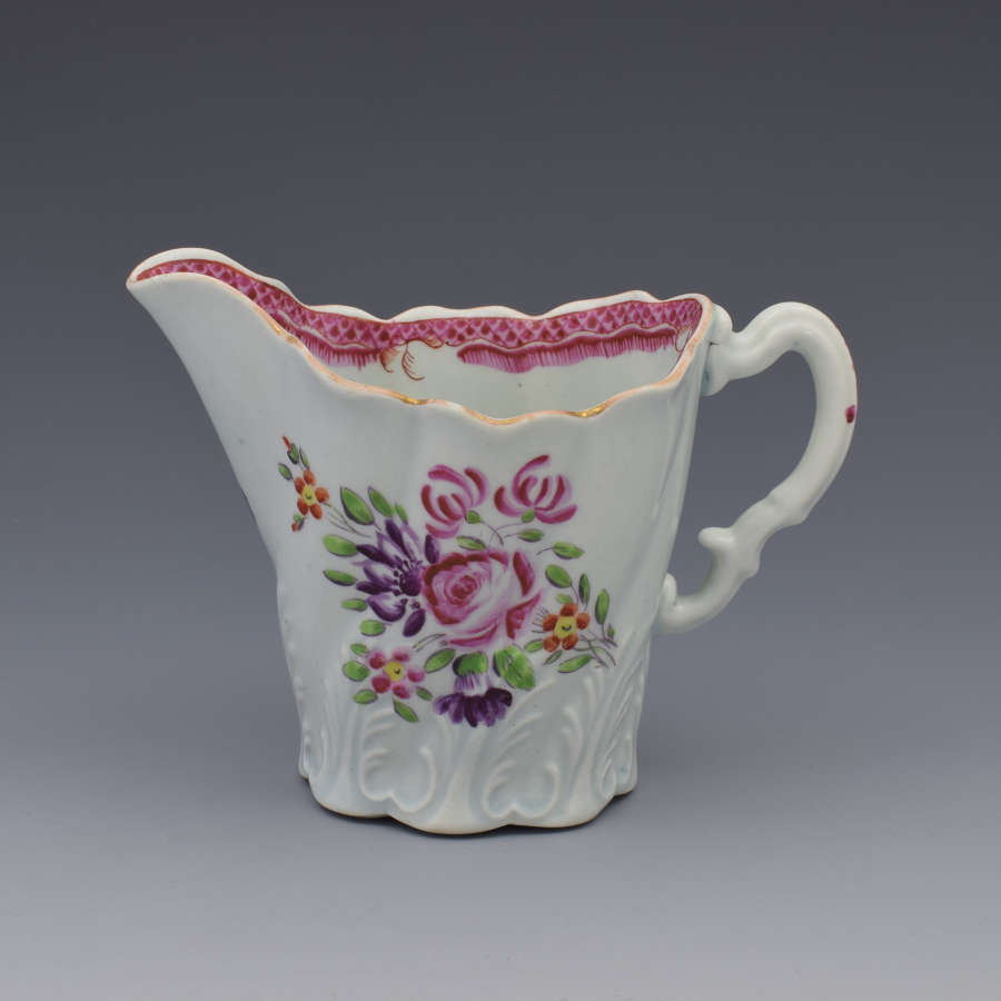First Period Worcester Porcelain High Chelsea Ewer Jug