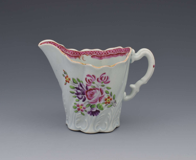 First Period Worcester Porcelain High Chelsea Ewer Jug