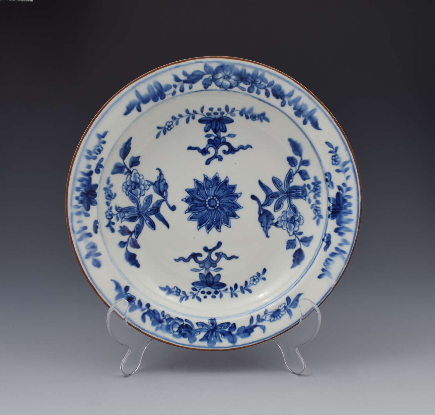 Rare Derby Porcelain Blue & White Chinese Style Soup Bowl / Plate