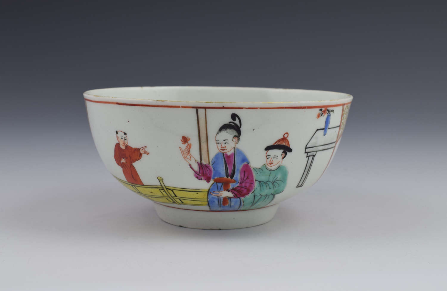 First Period Worcester Chinese Figures Slop Bowl Gentlemen's Mandarin