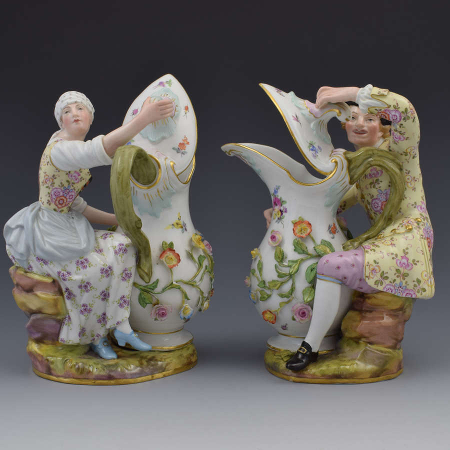Pair Of 19th Century Meissen Porcelain Figural Ewers