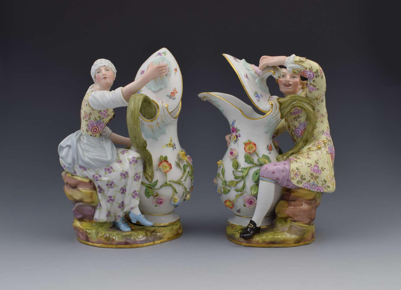 Pair Of 19th Century Meissen Porcelain Figural Ewers