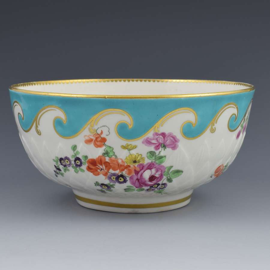Large Chelsea Derby Pineapple Moulded Bowl Turquoise Border c.1770