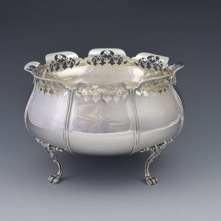 Art Nouveau Silver Lion Paw Footed Bowl - Mappin & Webb 1911