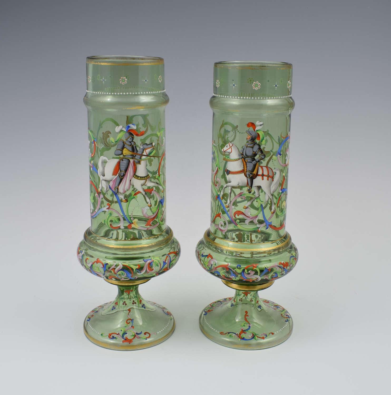 Pair Bohemian Meyr's Neffe Enamelled Historismus Glass Vases