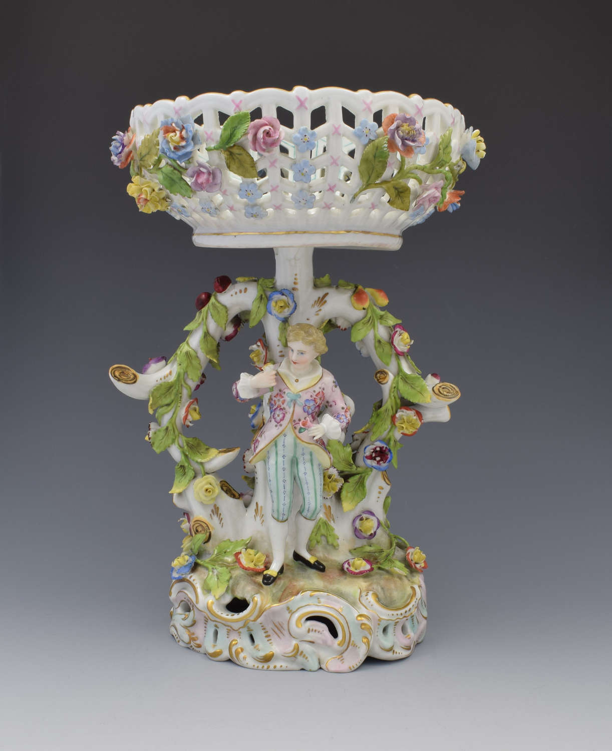 Carl Thieme Dresden Figural Table Basket Centrepiece