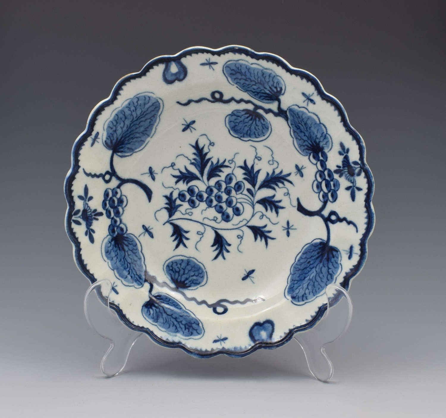 First Period Worcester Rubber Tree Plant Dessert Plate c.1770