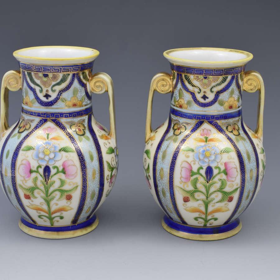 Pretty Pair Japanese Noritake Porcelain Vases c.1920s