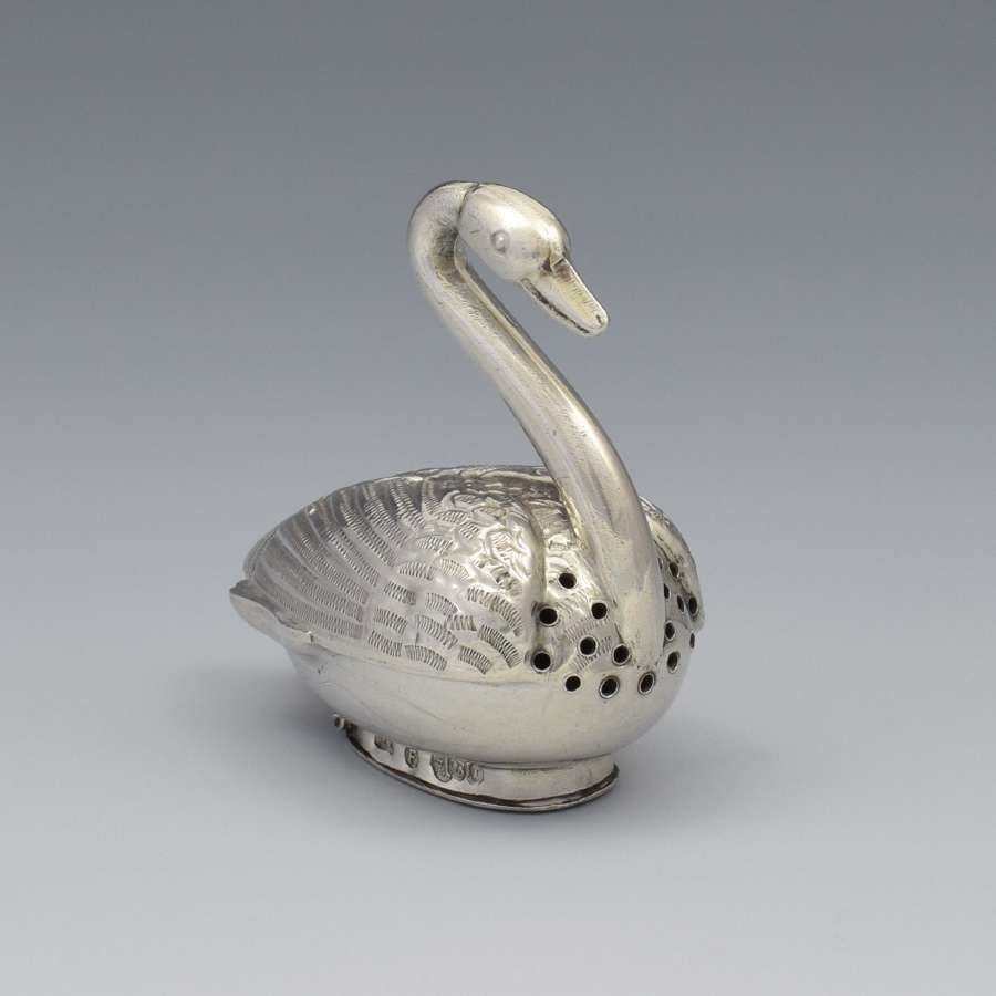 Victorian Dutch Novelty Silver Swan Vinaigrette Sheffield 189