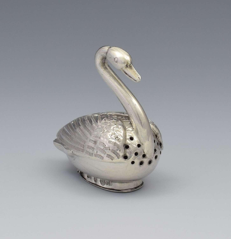 Victorian Dutch Novelty Silver Swan Vinaigrette Sheffield 189