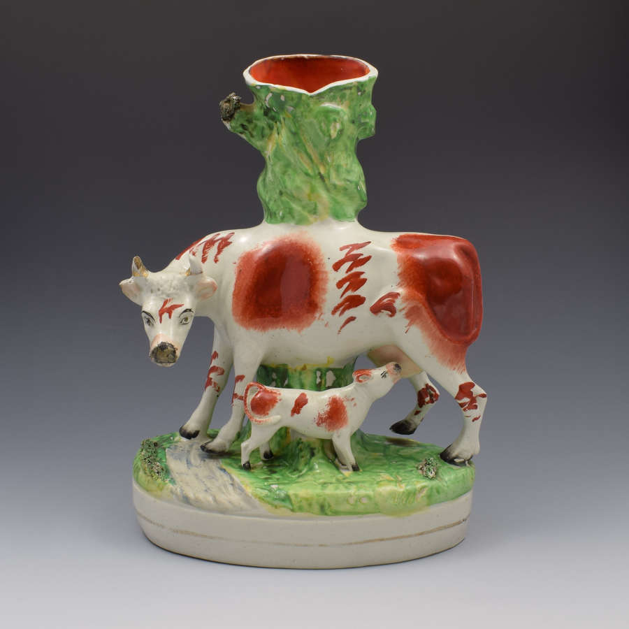 Large Victorian Staffordshire Spill Vase Cow & Calf Russet & White