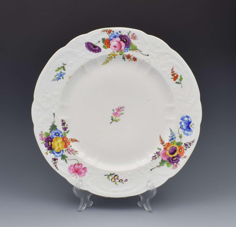 Large Georgian Coalport Blind Moulded Floral Plate c.1815