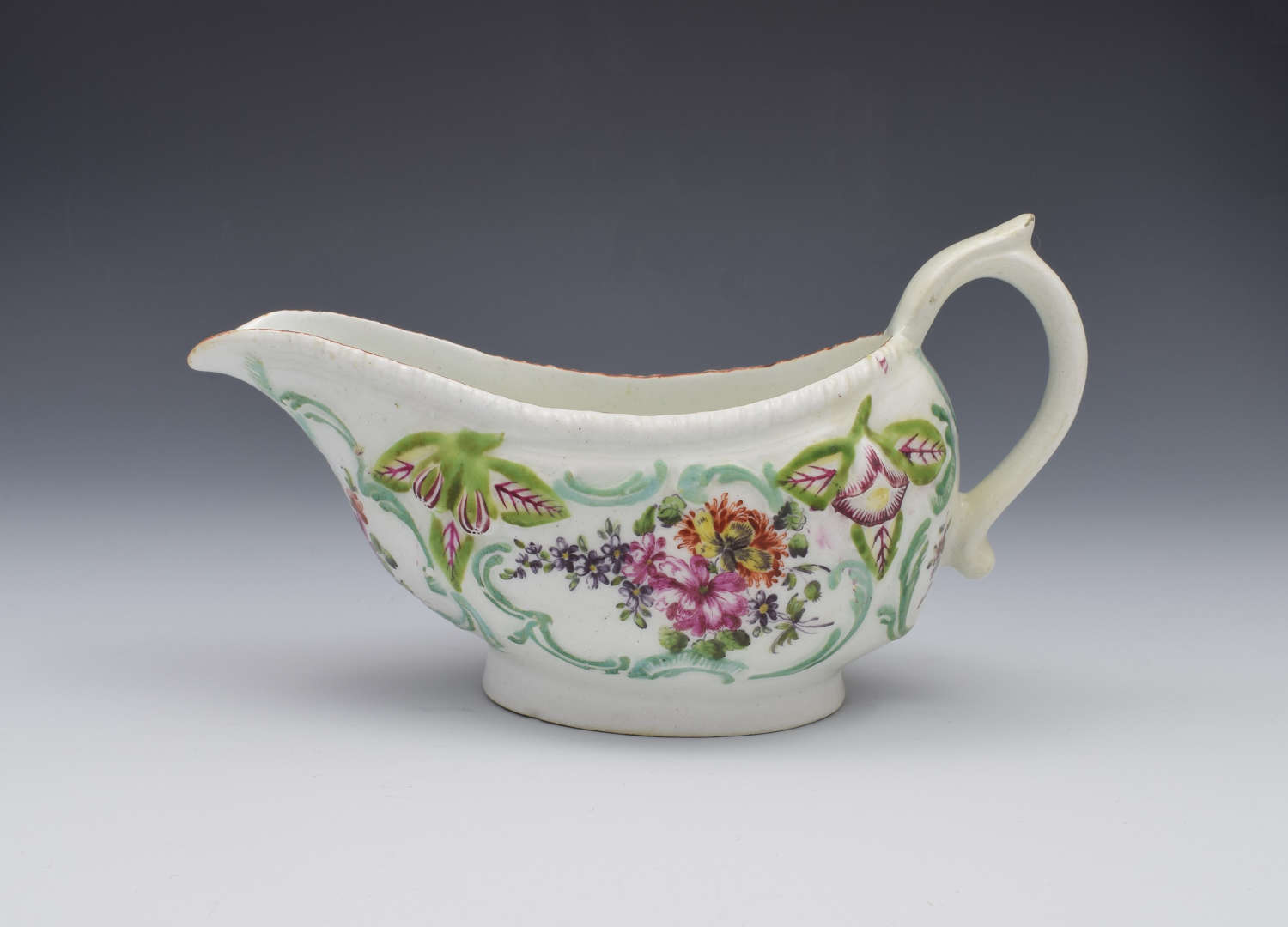 18th Century Derby Porcelain Moulded Sauceboat c.1760