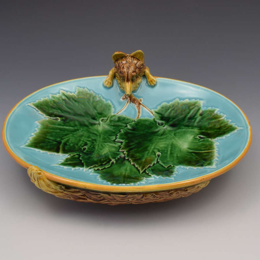 Victorian George Jones Majolica Fox Dish Tray