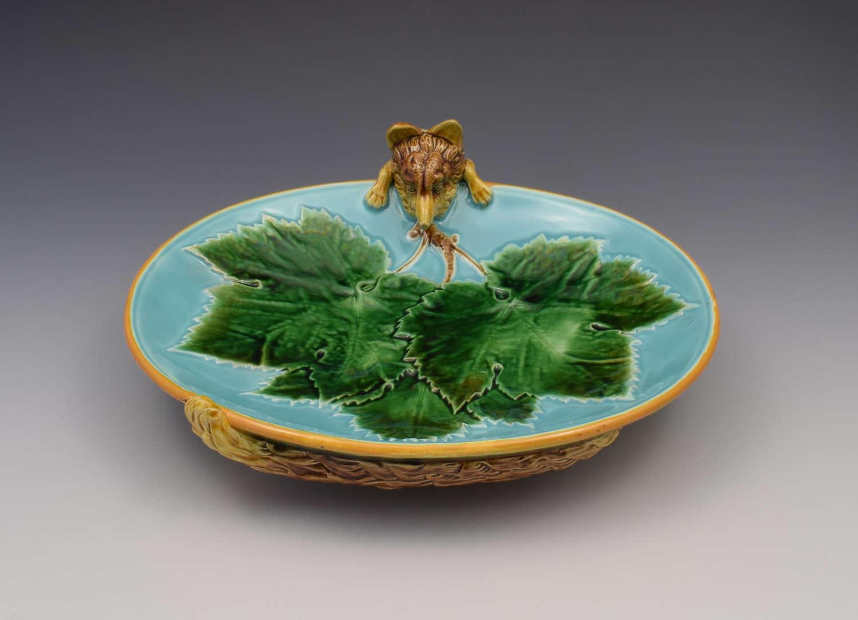 Victorian George Jones Majolica Fox Dish Tray