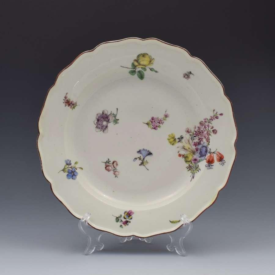 18th Century Chelsea Porcelain Floral Dessert Plate c.1755