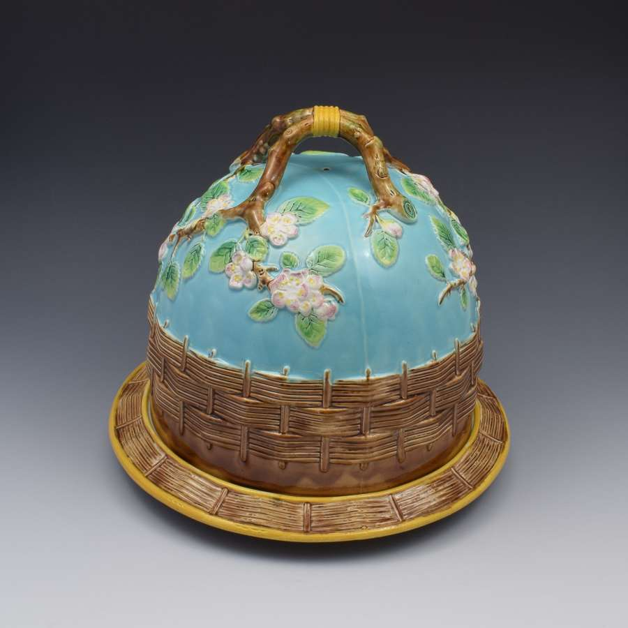 George Jones Majolica Apple Blossom Cheese Bell Keep c.1870