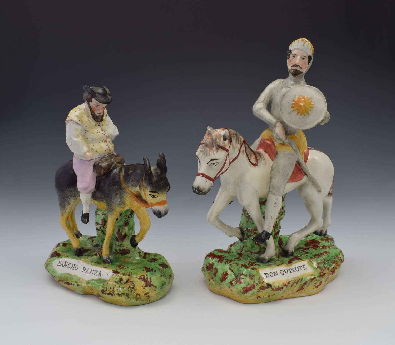 Victorian Pair Staffordshire Figures Don Quixote & Sancho Panza