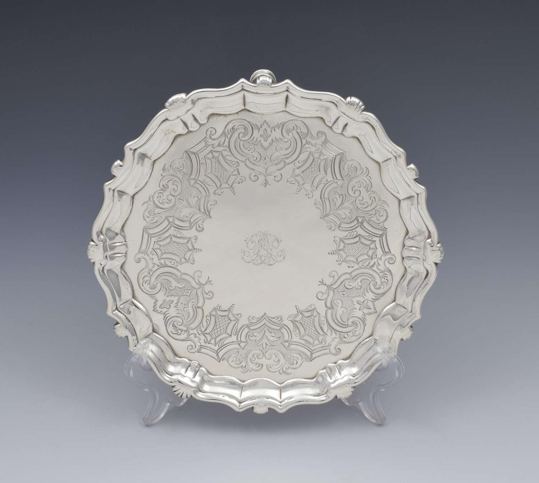George II Silver Salver / Card Waiter 1739 John Robinson II