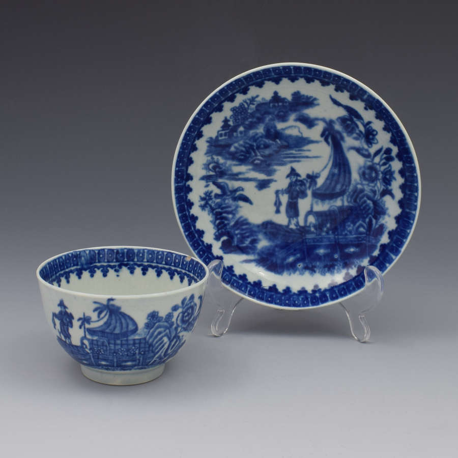 First Period Worcester Tea Bowl & Saucer Fisherman & Cormorant c.1775
