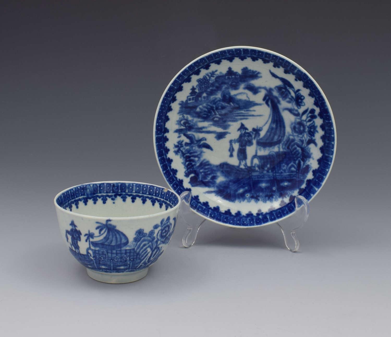 First Period Worcester Tea Bowl & Saucer Fisherman & Cormorant c.1775