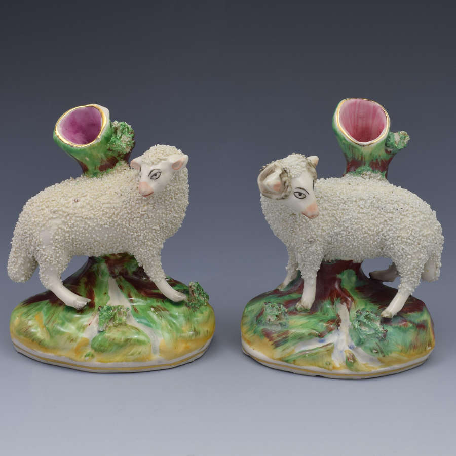 Pair Late Victorian Kent Staffordshire Pottery Ram & Ewe Spill Vases