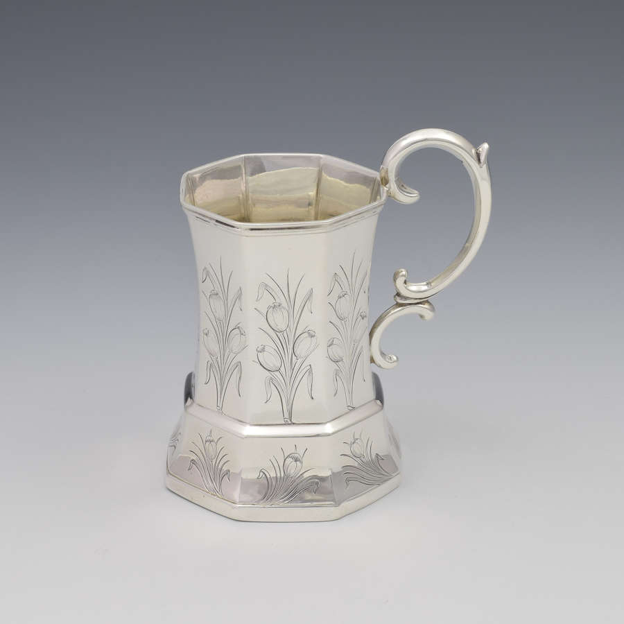 Unusual Early Victorian Octagonal Silver Christening Mug