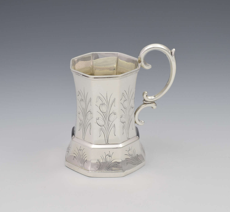 Unusual Early Victorian Octagonal Silver Christening Mug