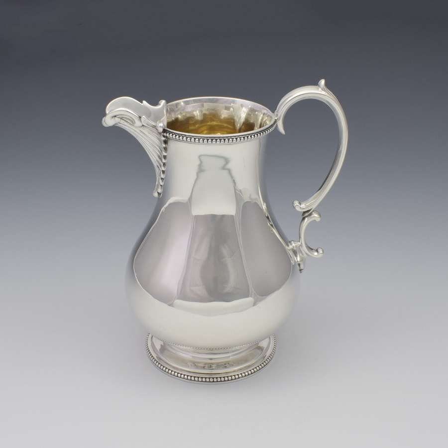 Large Victorian Silver Baluster Cream Jug Martin, Hall & Co.