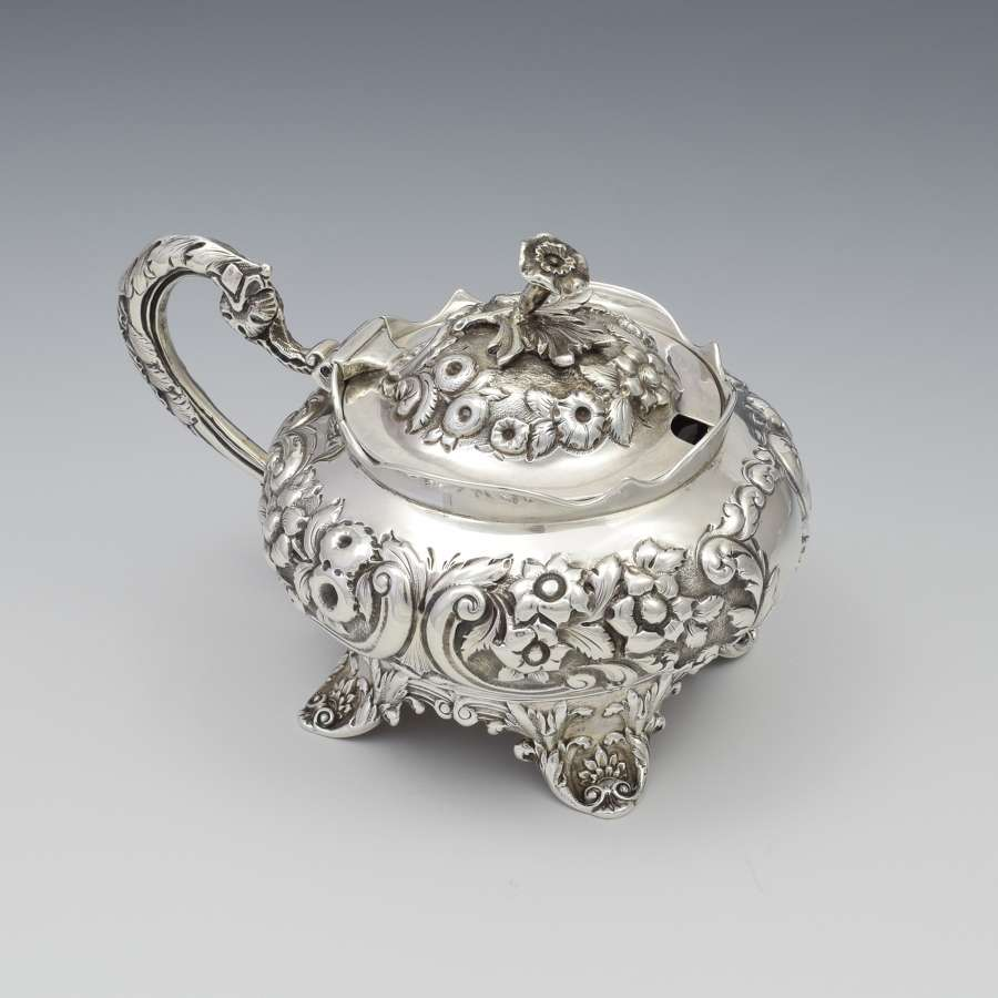 William IV Ornate Silver Mustard Pot John, Henry & Charles Lias