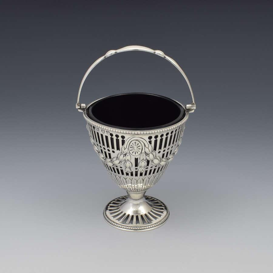 George III Pierced Silver & Glass Sugar Basket