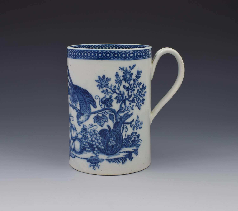 Large Caughley Porcelain Mug Tankard Parrot Pecking Fruit Pattern