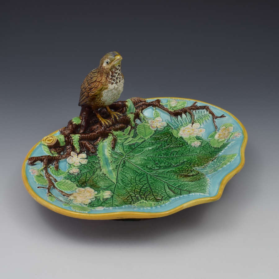 Victorian George Jones Majolica Thrush Bird Tray
