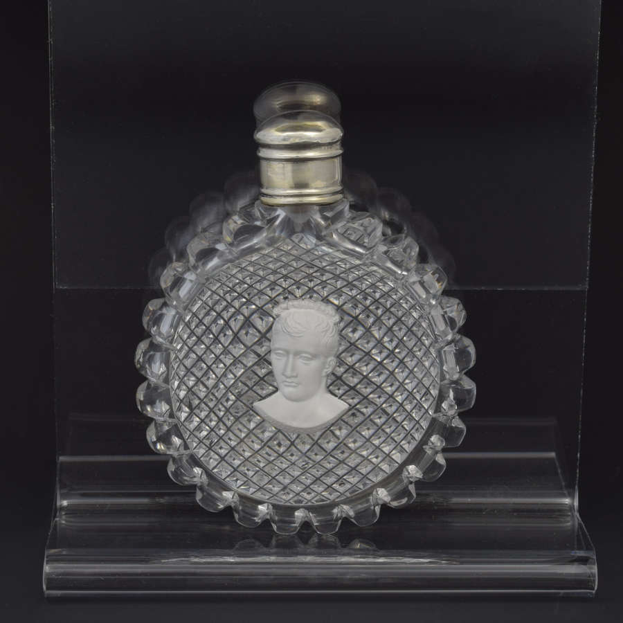 Napoleon Sulphide Portrait Cut Glass Scent Bottle Probably Baccarat