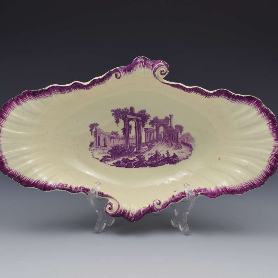 18th Century Neale & Co. Creamware Shell Dessert Dish Classical Ruins