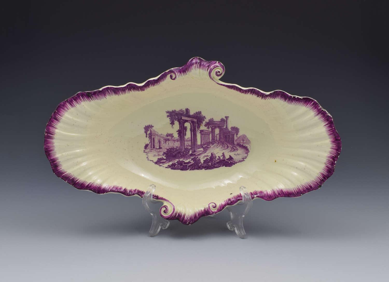 18th Century Neale & Co. Creamware Shell Dessert Dish Classical Ruins