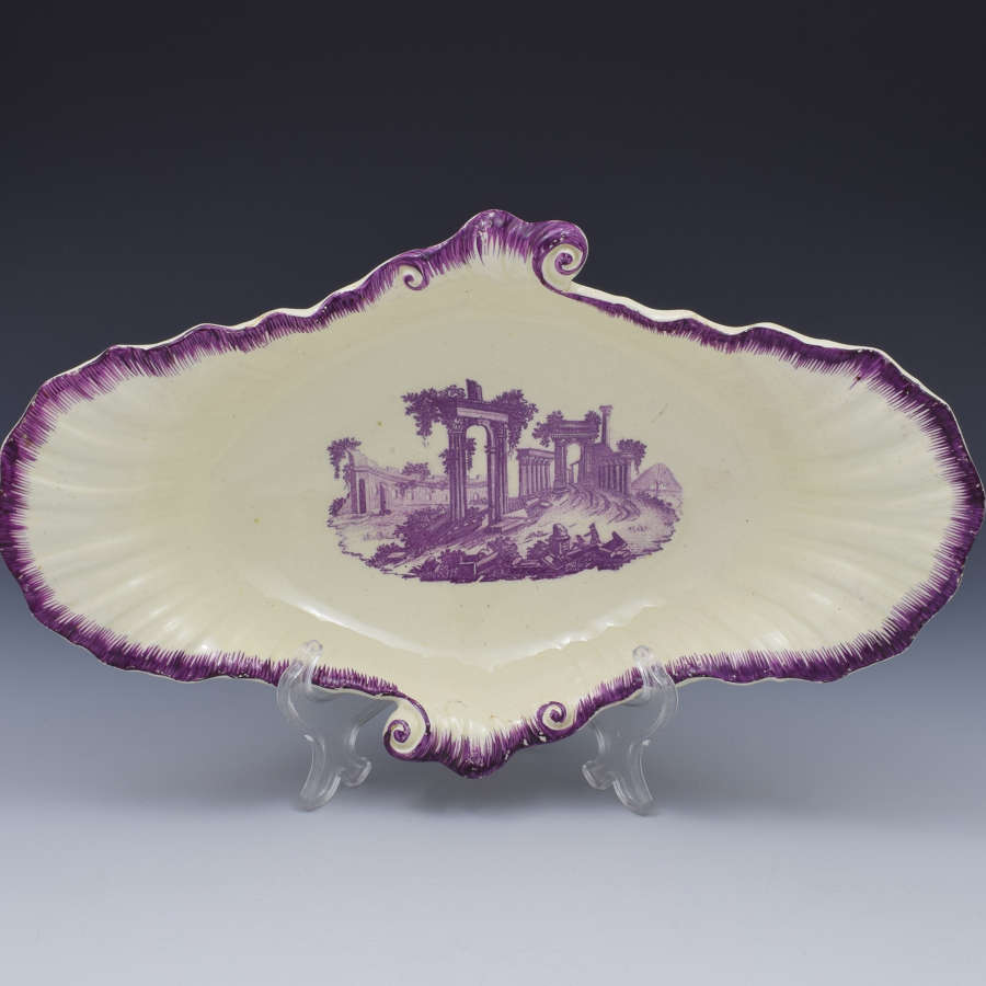 18th Century Neale & Co. Creamware Shell Dessert Dish Classical R
