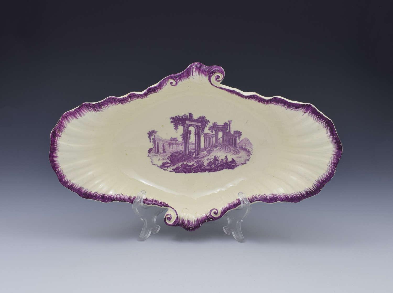 18th Century Neale & Co. Creamware Shell Dessert Dish Classical R