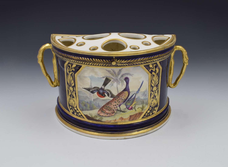 Bloor Period Derby Porcelain Bough Pot Dodson Exotic Birds c.1815