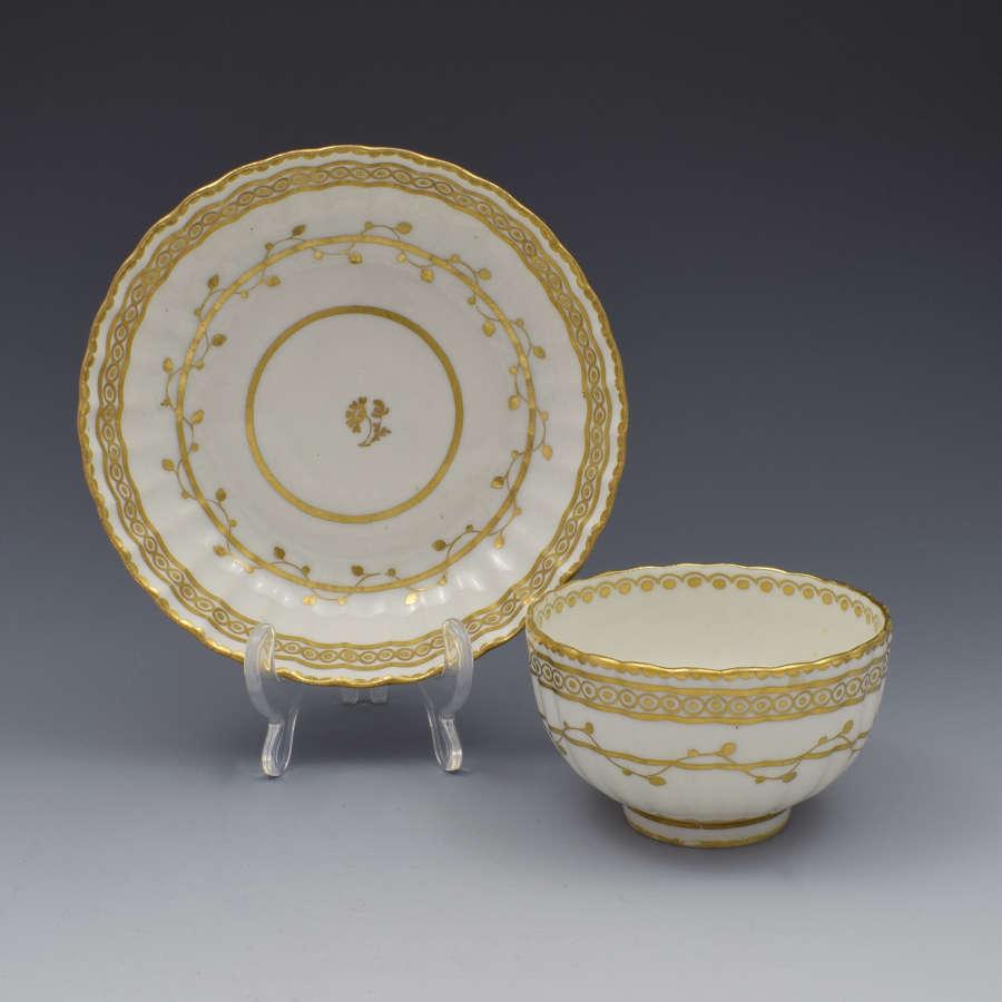 18th Century Derby Porcelain Fluted Tea Bowl & Saucer