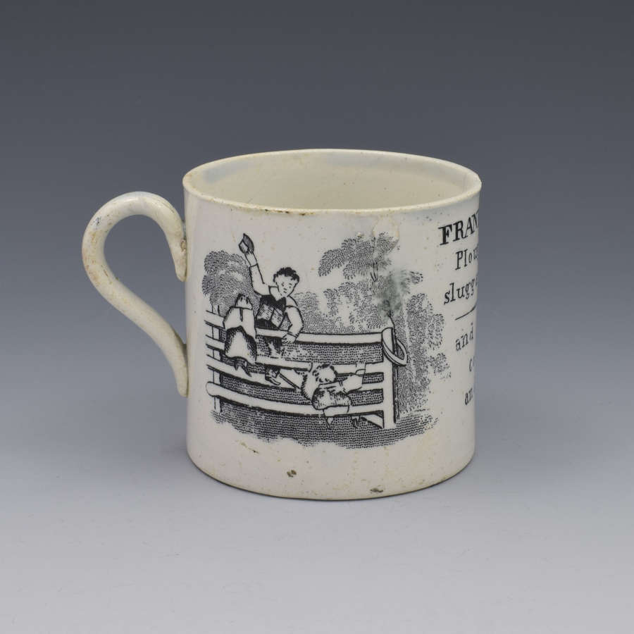 Staffordshire Pearlware Child's Black Printed Mug Franklin's Maxims