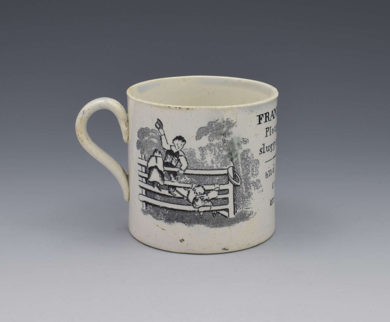 Staffordshire Pearlware Child's Black Printed Mug Franklin's Maxims