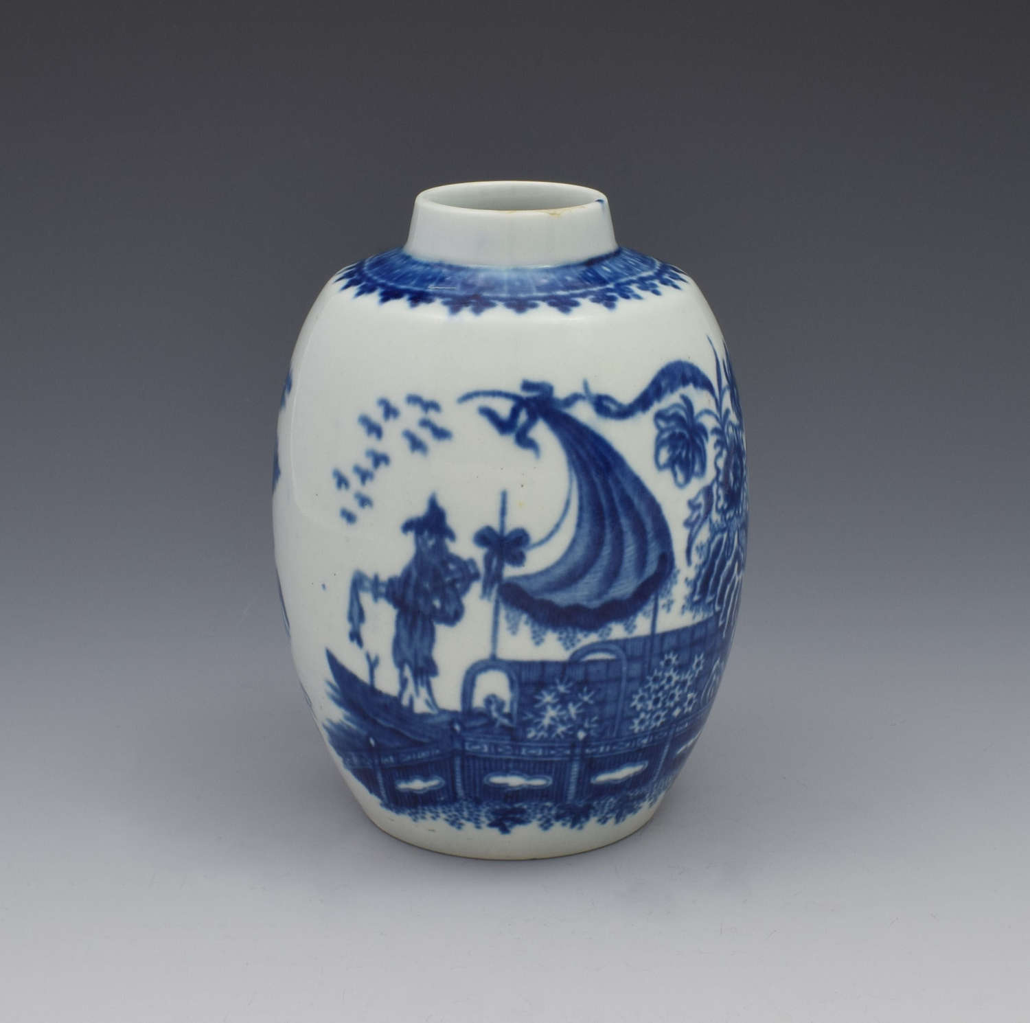 First Period Worcester Tea Canister Fisherman & Cormorant Pattern
