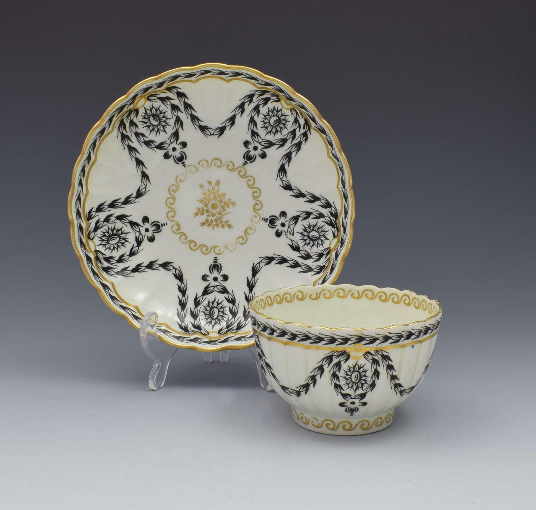 First Period Worcester Fluted Tea Bowl & Saucer c.1780