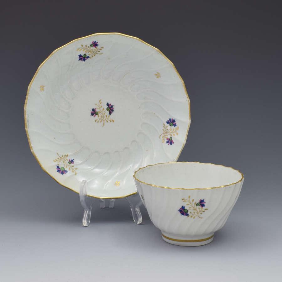 Flight Period Worcester Shanked Tea Bowl & Saucer Cornflower Sprigs