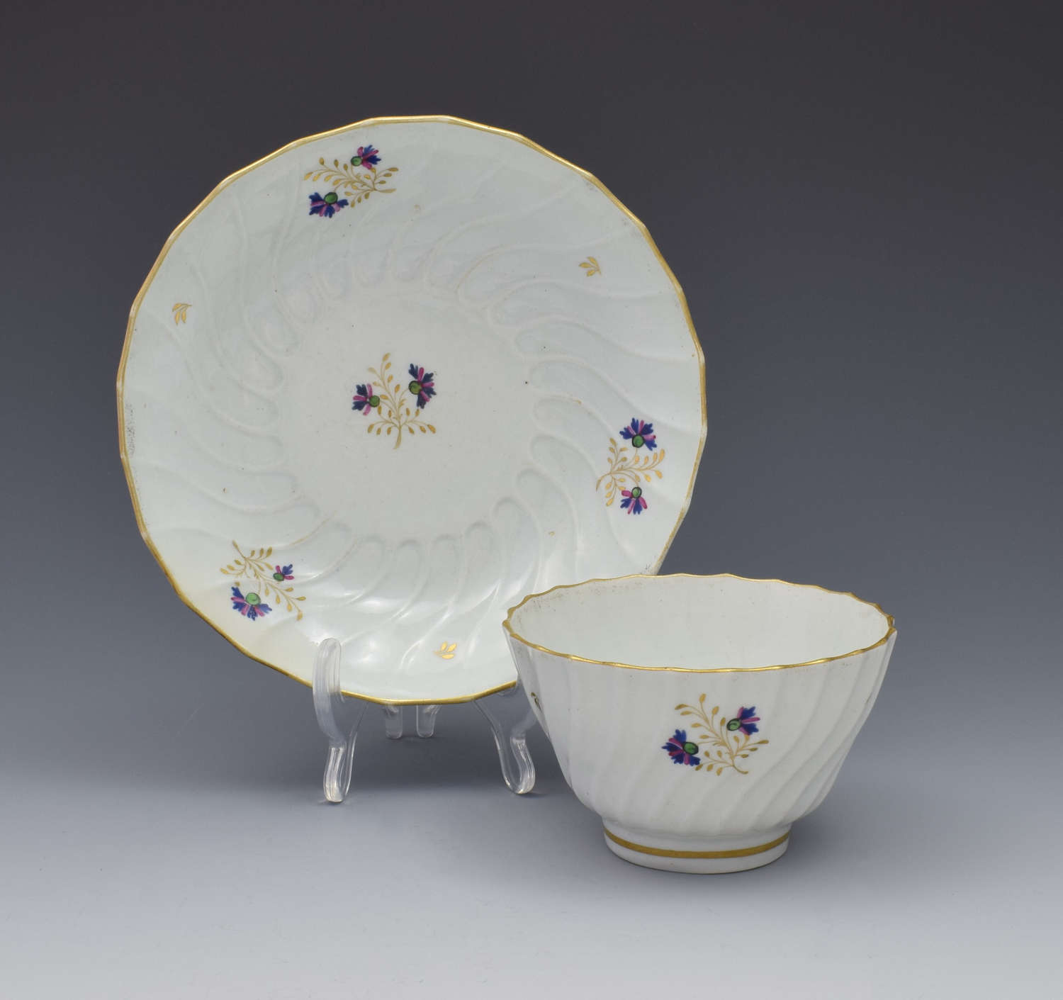 Flight Period Worcester Shanked Tea Bowl & Saucer Cornflower Sprigs
