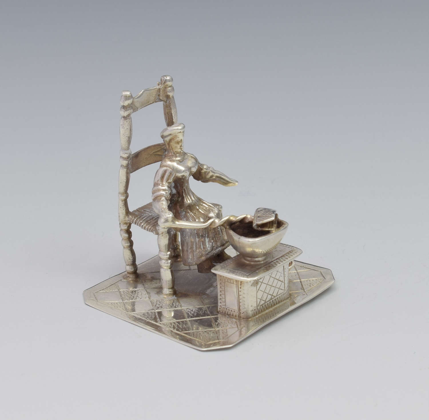 Dutch Silver Miniature Figure Seated Woman Girl Cooking c.1890