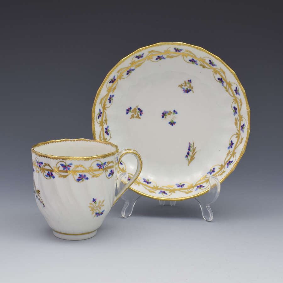 18th Century Derby Porcelain Cup & Saucer Barbeaux Sprigs, c.1785