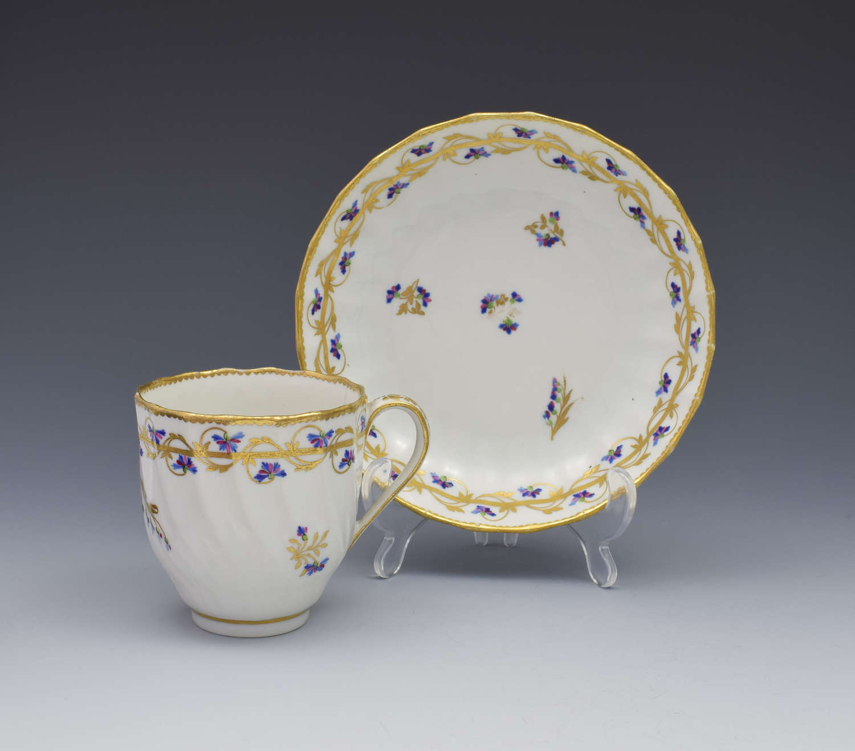 18th Century Derby Porcelain Cup & Saucer Barbeaux Sprigs, c.1785